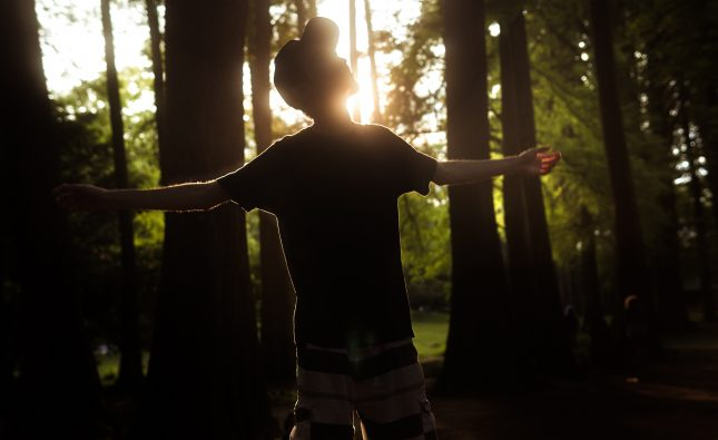man in black t-shirt standing in forest during daytime